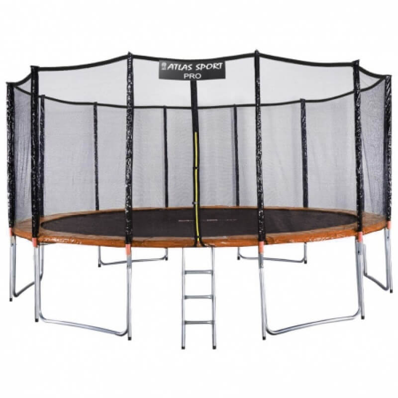 """Батут """"Atlas Sport"""" (16ft) PRO ORANGE с внешней сеткой и лестницей(усиленные опоры). Диаметр - 490 см. Нагрузка - 180 кг."""