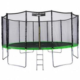 """Батут """"Atlas Sport"""" (16ft) Basic GREEN с внешней сеткой и лестницей. Диаметр - 490 см. Нагрузка - 180 кг."""