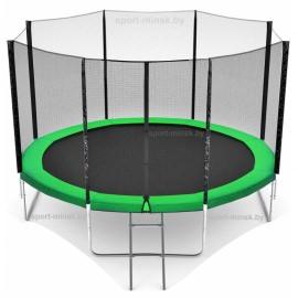 "Батут ""Happy Jump"" (14ft) PRO с внешней сеткой и лестницей. Диаметр - 435 см. Нагрузка - 180 кг."