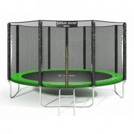 """Батут """"Atlas Sport"""" (12ft) GREEN с внешней сеткой и лестницей. Диаметр - 374 см. Нагрузка - 150 кг."""